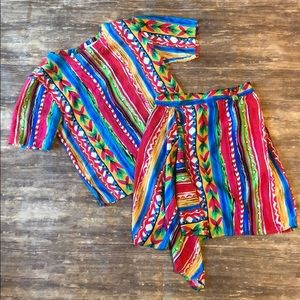 🌈 vintage rainbow western Aztec two piece set 🌈